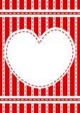 Marco rojo cosido de la frontera del corazón Imagenes de archivo