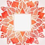 Marco rojo de la acuarela con el estampado de flores Elemento del vector Imágenes de archivo libres de regalías