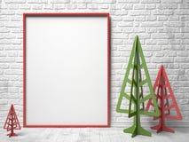 Marco rojo de la lona de la maqueta, y árboles de navidad 3d Fotos de archivo