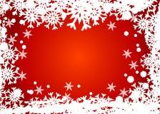 Marco rojo de los copos de nieve Fotografía de archivo libre de regalías