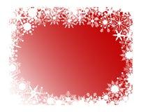 Marco rojo de los copos de nieve Foto de archivo