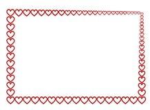 Marco rojo de los corazones Fotos de archivo