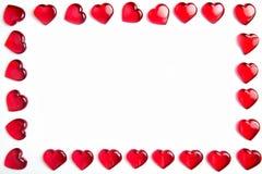 Marco rojo de los corazones Fotos de archivo libres de regalías