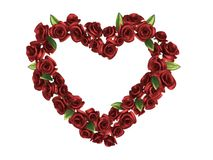 Marco rojo de Rose en la dimensión de una variable del corazón Foto de archivo libre de regalías