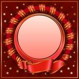 Marco rojo del círculo de la vendimia con la cinta stock de ilustración