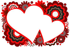 Marco rojo del corazón stock de ilustración