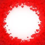 Marco rojo del corazón Marco del confeti del corazón para la bandera Fondo de los corazones del día de tarjetas del día de San Va Imagen de archivo