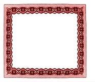 Marco rojo del cordón aislado en blanco Imágenes de archivo libres de regalías
