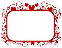 Marco rojo del día de tarjeta del día de San Valentín de los remolinos de los corazones Imagenes de archivo