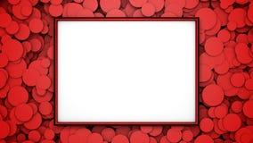 Marco rojo en fondo con los círculos rojos Ejemplo gráfico con el espacio libre para el diseño o el texto representación 3d Foto de archivo