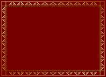 Marco rojo oscuro con la decoración de oro Foto de archivo libre de regalías