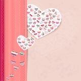 Marco rosado con los corazones del contorno libre illustration