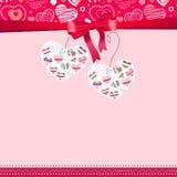 Marco rosado con los corazones del contorno ilustración del vector