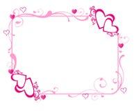 Marco rosado de los corazones Fotos de archivo