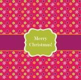 Marco rosado del diseño del punto de polca con los copos de nieve Fotografía de archivo libre de regalías