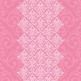 Marco rosado inconsútil en estilo del Barroco del damasco Foto de archivo libre de regalías