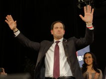 Marco Rubio Holds Campaign Rally at Texas Station, Dallas Ballroom, North Las Vegas, NV. Stock Photography
