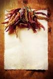 Marco secado de las pimientas Imagenes de archivo