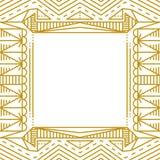 Marco simple linear con las líneas del oro Imagen de archivo
