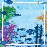 Marco subacuático de la decoración de los pescados ilustración del vector