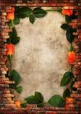 Marco sucio de la pared de ladrillo con las rosas rojas Imagen de archivo