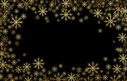 Marco texturizado de oro de los copos de nieve fotografía de archivo