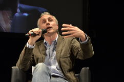 Marco Travaglio, famous italian journalist. Talking in the Teatro Morlacchi, in Perugia, during the International Journalism Festival Royalty Free Stock Photo
