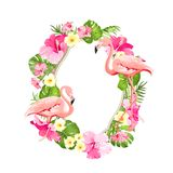 Marco tropical de la flor para su diseño de tarjeta con el espacio claro para el texto Ejemplo del verano con el ramo de palma ve ilustración del vector