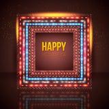 Marco universal del día de fiesta hecho de luces. Fotografía de archivo