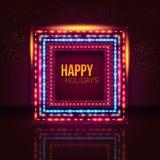 Marco universal del día de fiesta hecho de luces. Foto de archivo libre de regalías