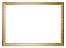 Marco vacío de oro grande aislado en blanco Imagenes de archivo
