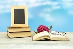 Marco vacío en los libros viejos con un flor del azalee rosado y de un p Fotos de archivo