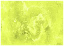 Marco verde amarillo de la acuarela del sacador de la cal Fondo abstracto del drenaje de la mano fotografía de archivo