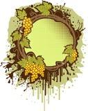 Marco verde con las uvas stock de ilustración