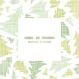 Marco verde de la materia textil de las siluetas de los árboles de navidad Imágenes de archivo libres de regalías
