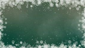 Marco verde de los copos de nieve del Año Nuevo almacen de video