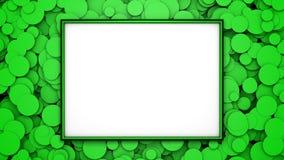 Marco verde en fondo con los círculos verdes Ejemplo gráfico con el espacio libre para el diseño o el texto representación 3d Imágenes de archivo libres de regalías