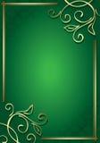Marco verde floral con las decoraciones del oro Imagenes de archivo