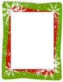Marco verde rojo del copo de nieve Foto de archivo
