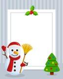 Marco vertical de la foto del muñeco de nieve de la Navidad Fotos de archivo libres de regalías