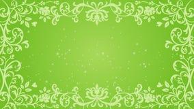Marco y animación florales cada vez mayor del brillo - color verde almacen de video