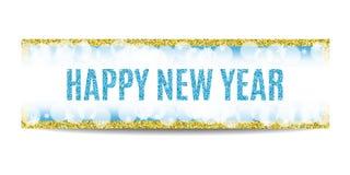 Marco 2017 y copos de nieve de oro de la bandera de la Feliz Año Nuevo Fotografía de archivo libre de regalías