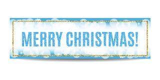 Marco y copos de nieve de oro de la bandera de la Feliz Navidad Imagenes de archivo