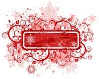 Marco y copos de nieve rojos florales libre illustration