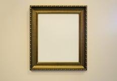 Marco y foto de oro de la textura de la pared imágenes de archivo libres de regalías
