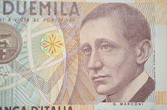 Marconi italiensk uppfinnare på 2000 lire sedel Royaltyfri Bild