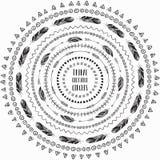 Marcos étnicos dibujados mano de los círculos Cepillos Editable del modelo ilustración del vector