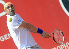Marcos Baghdatis. ATP Tennis player Marcos Baghdatis pictured in action during his  ATP 250 tournament BRD Nastase Tiriac Trophy game against Guilermo Garcia Stock Photo