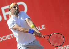 Marcos Baghdatis. ATP Tennis player Marcos Baghdatis pictured in action during his  ATP 250 tournament BRD Nastase Tiriac Trophy game against Guilermo Garcia Royalty Free Stock Image