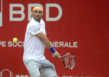 Marcos Baghdatis. ATP Tennis player Marcos Baghdatis pictured in action during his  ATP 250 tournament BRD Nastase Tiriac Trophy game against Steve Darcis Stock Image